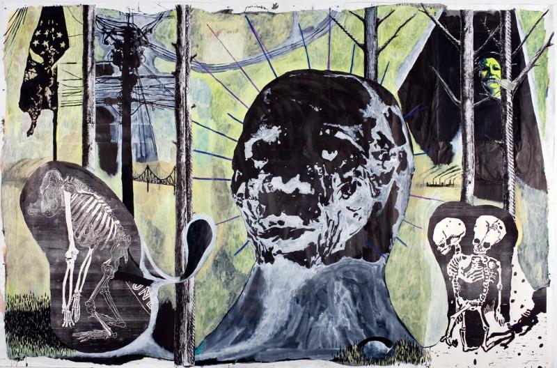 Deroubaix Damien_Bohpal_2008_ Aquarelle_encre acrylique et collage sur papier_268 x 410 cm_Courtesy Galerie in-situ fabienne leclerc_Paris