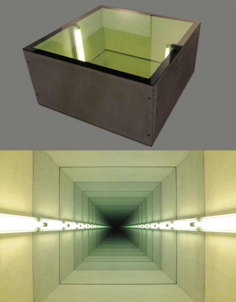 Chul_Hyun_Ahn,_-Tunnel_IV,-_2011_(two_views),_cast_concrete,_lights,_mirrors,_ed._of_3,_20x40x40_inches