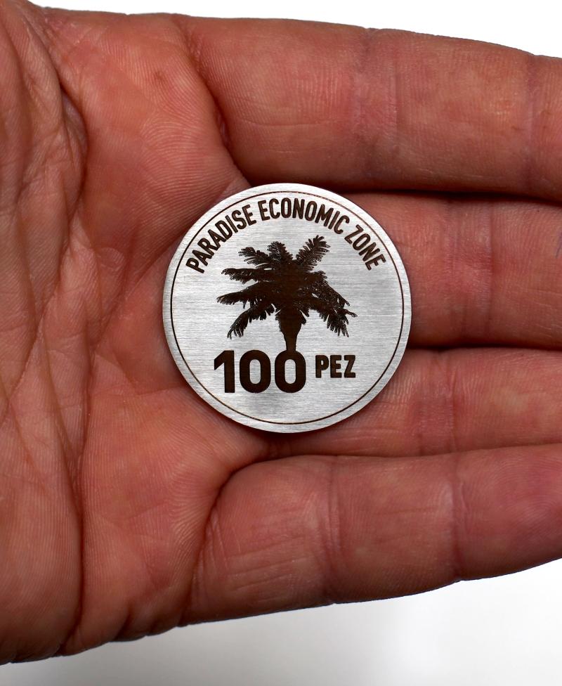 monnaie PEZ, acier inoxydable gravé au laser édition de 100 ex.