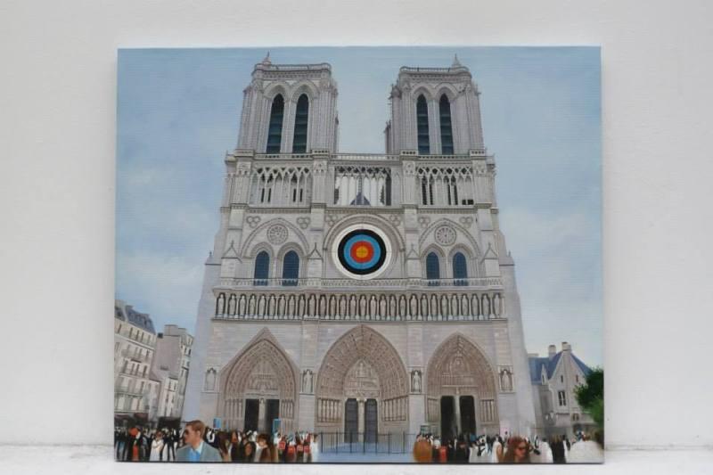 International Targets Paintings, peintures à l'huiles réalisées par des artisants peintres chinois à partir d'un photo montage envoyé par internet. Léa Le Bricomte 2012.© galerie Lara Vincy.
