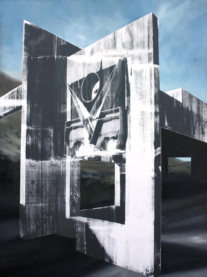 Pallene II, 2015, 200 x 150 cmhuile, acrylique et sérigraphie sur toile