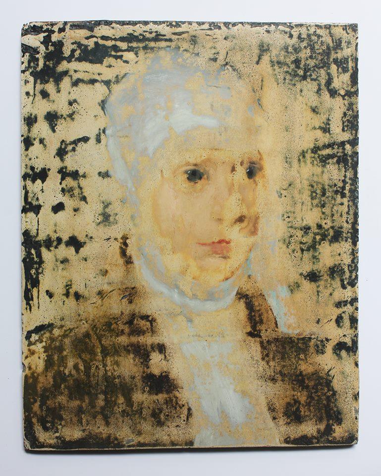 76e Ponsée Jeune femme de la Renaissance huile sur bois 26,5x21x0,8cm Mai 2015