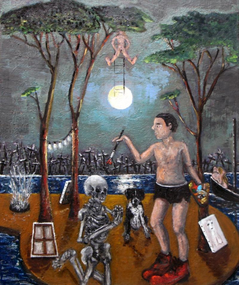 Eric Corne L'acrobate 2014 Huile sur toile 46 x 55 cm Courtesy Galerie Patricia Dorfmann, Paris