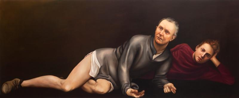O.D.G. 2014 Huile et acrylique sur panneau 100 x 244 cm Courtesy Galerie Nathalie Obadia