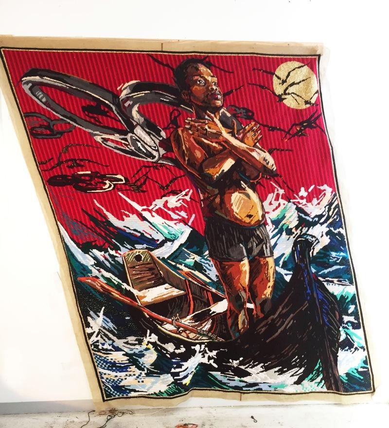 Statecraft - Invitation to Exile, 2015 Laine et fils sur trame de tissu 222 x 188 cm Pièce unique