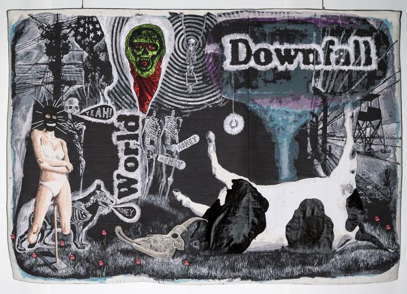 Damien DEROUBAIX World Downfall, 2014 tapisserie en 3 panneaux assemblés : fils de laine, broderie, cuir, dentelle 268 x 410 cm Pièce unique