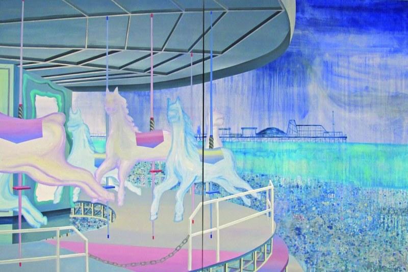 Sinyoung Park, sans titre, acrylique sur toile, 240 x 360 cm