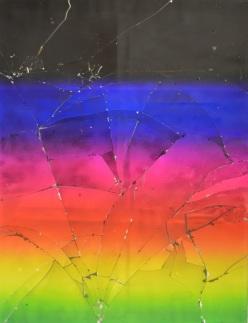 Untitled, 2015 Résine epoxy et impression jet d'encre traitée aux UV sur verre avec support en bois 167,64 x 129,54 cm