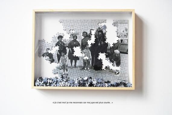 MORGANE DENZLER / 2012. Ceux qui restent 2. Impression numérique sur puzzle, 52 x 40 cm. Avec l'aimable autorisation de la galerie Bendana Pinel Art Contemporain, Paris