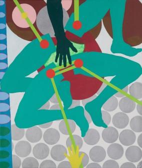 Green Machine, c.1964 Huile et acrylique sur toile - 128,9 x 108,1 cm © Kiki Kogelnik Foundation. Courtesy Galerie Natalie Seroussi
