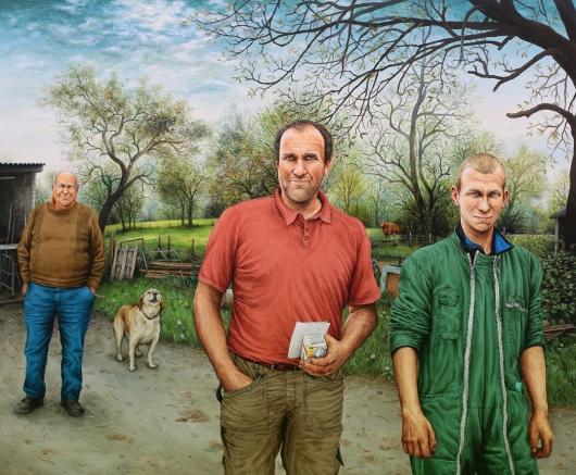 ÉLEVEURS, B. & O. BRETTE et B. JIMENEZ - 2016, acrylique sur bois, 47 x 57 cm (BD)